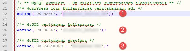 wp-config.php dosyasında düzenleme