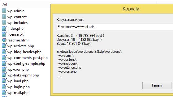 wordpress dosyalarını www klasörüne gönderme