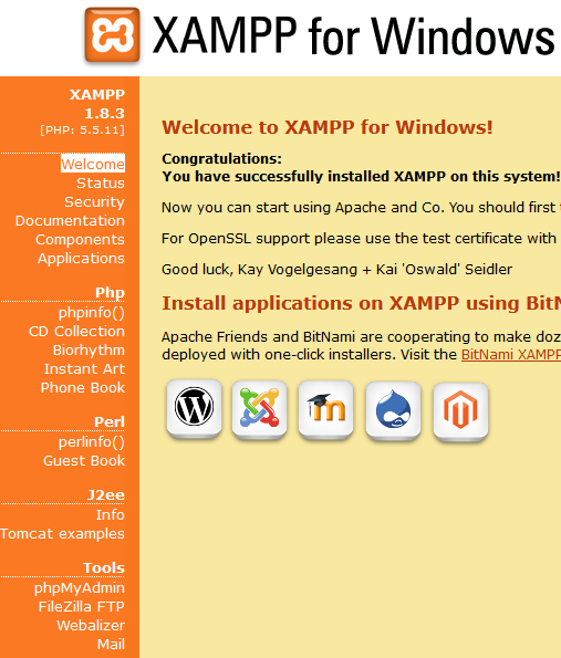Xampp ana sayfası