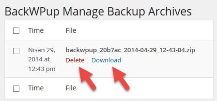 Yedeklenen dosyaların listesini görme