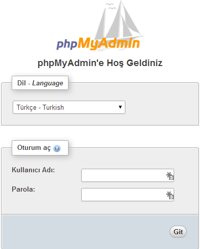 cPanel-veritabani-phpmyadmin-giris