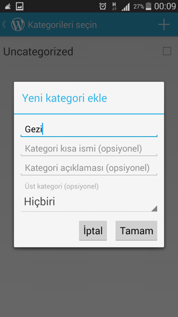 wordpress-android-kategori-ekle